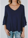 Women Blouse Shirt Top V-Neck Ruffles Flare Sleeve Solid Loose Casual Top