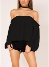 Sexy Women Off-the-Shoulder Chiffon Blouse Lantern Long Sleeve Casual Solid Shirt Tops