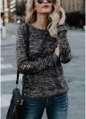 Frauen Langarm T-Shirt Pailletten Patch O-Neck Kontrast Lässige Pullover Tops Tee
