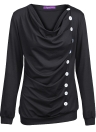 Femmes T-shirt Romacci BG Drapé T-Shirt 10 Boutons Décoration Tee Tops Pull