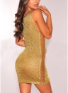 Sexy Women Knit Bodycon Mini Dress Deep V-Neck Hollow Out Sleeveless Dress