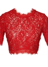 Sexy Women Sheer Lace Crop Top O-Neck Short Sleeve Crochet Tank Top