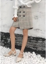 Tweed Plaid Buttons Falda casual de cintura alta