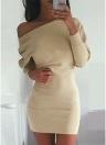 Frauen-beiläufiges loses Kleid-feste lange Hülse Boho langes Minikleid