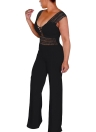 Casual Women Deep V Neck Hollow Out Crocheted Lace Jumpsuit