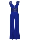 Casual Mulheres Deep V Neck Hollow Out Crocheted Lace Jumpsuit