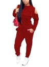 Women Cold Shoulder Two-Piece Set O-Neck Long Sleeve Ruffle Top Pants Suit