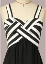 Stripe Chiffon Contraste Color Spaghetti Strap Ruffle Long Dress