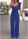 Women Striped Ruffle Wide-Leg Jumpsuit Single Shoulder High Waist Playsuit