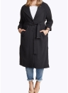 Mulheres Longline Single Breasted Turn-Down Collar Lapel Coat
