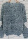 Suéter de punto flojo de las mujeres del codo del corazón del remiendo sólido de manga larga del jersey del punto