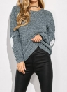 Frauen lose gestrickte Pullover Elbow Heart Patch Solid Langarm Strick Pullover