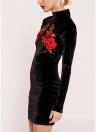 Sexy Women Velvet Floral Bordado Bodycon bainha Mini vestido