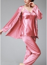 Women Silk Satin Night Robe Set Badydoll Pants Kimono Bathrobe Nightgown