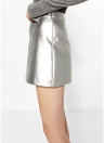 Gonna donna PU Metallic Mini A-Line Side Zipper