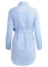 Striped Floral Embroidered Applique Button Down Waist Strap Casual Shirt Dress