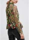 Femmes Mesh Floral Broderie RuffleTransparent Sheer Top