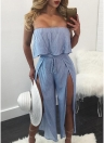Women Striped Jumpsuit Off the Shoulder Rompers Ruffle Boho Beach  Overalls Playsuit