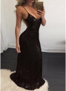 Glitter Sequin V Neck Open Back Zipper Bodycon Maxi Dress