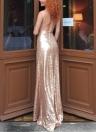 Glitter Pailletten V-Ausschnitt mit offenem Rücken Bodycon Maxi-Kleid