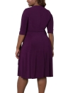 Tamanho Plus Cross Ruched Belt Half Sleeves Elegant Midi Dresses