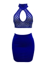 Women Two Pieces Slim Crop Top Skirt Sequined Sleeveless Bandage Halter Skirt