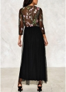 Sheer Mesh Embroidered Floral Maxi Gown Women Dress