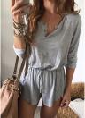Mulheres Jumpsuit Button Long Sleeve Drawstring Waist