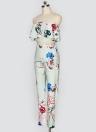 Floral Ruffle De Impressão Fora Do Ombro Backless Moda Mulheres Conjunto De Duas Partes