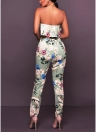 Floral Print Ruffle Off the Shoulder Backless Fashion Women Two Piece Set