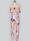 Falda de estampado floral del hombro sin respaldo Mujeres de moda Set de dos piezas