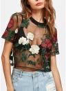 Women Sheer Mesh Top Flower Embroidered Short Sleeve Blouse