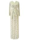 Feather Print Long Sleeve Split Robe Women Maxi Dress