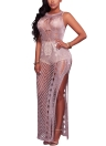 Hollow Out Slim O-Neck sem mangas Split Sexy Bodycon Mulheres Mixi Vestido