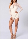 Lace Mesh Semi-sheer Splice Women Playsuit