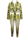 Printed Tie Front Women Casual Two-Piece Set
