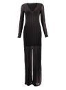 Les femmes avant Split Maxi Dress Deep V Neck Party formelle robe longue