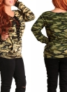 New Sweater Print Long Sleeves Pullover Casual Loose Top Brown/Army Green
