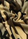 Nova Camisola Imprimir mangas compridas Pullover Casual solta Top Brown / Exército Verde