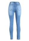 Pantalones vaqueros de las mujeres atractivas de cintura alta pantalones rasgados destruidos raída agujero mosca de la cremallera del dril de algodón flaco del lápiz pantalones azules