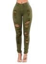 Fashion Skinny Jeans High Waist Stretchy Ripped Hole Pencil Pants