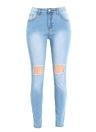 Женщины Омывается джинсы Denim Разрушенный Изношенные отверстия кармана на молнии Брюки Тощий карандаш брюки колготки Голубые
