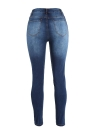 Sexy Women Ripped Hole Skinny Jeans High  Pencil Trousers Leggings Blue