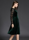 Floral hueco terciopelo de las mujeres Vestido de encaje de salida O Cuello riza larga de las mangas de una línea trasera de la cremallera vestido verde oscuro