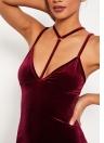 New Sexy Mulheres Mini Detalhes elástico Backless vestido de festa sem mangas Burgundy