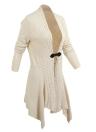 Новые женщины трикотажные кардиган твердых кнопку Hem Длинные рукава повседневная одежда верхней одежды