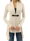 Novos Mulheres Knitted Cardigan Sólidos Button Hem Mangas Longas Outerwear Casaco Casual