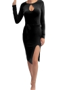 Sexy Cut Out Split Long Sleeve Nightclub Party Bodycon Dress