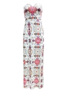 Strapless Floral Print Color Block Backless Split Slim  Beach Long Dress