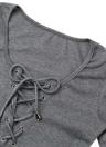 Bodycon Dress Lace-Up Front Deep V-Neck Robe à manches longues à manches longues